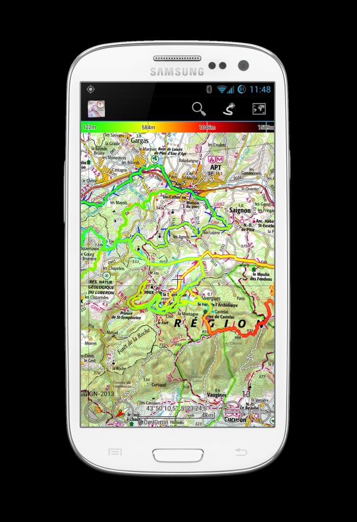 Traces affichees sur la carte, avec colorisation en fonction de l'altitude