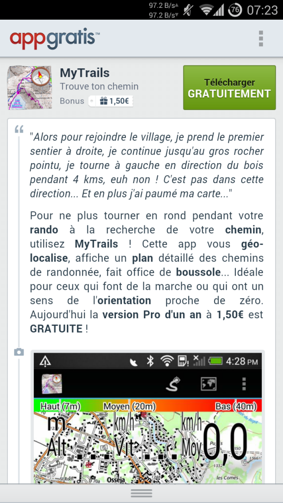 La description concoctée par AppGratis