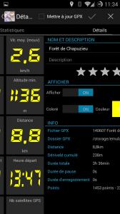 Une vue de la trace en 4 panneaux: graphes, stats, paramètres et carte