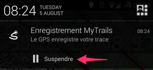 Notification d'enregistrement